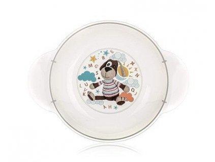 BANQUET Dětský plastový hluboký talíř 208x158x44 mm, motiv DOG