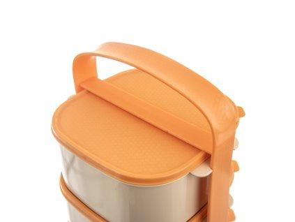Plastový jídlonosič Almi oranžový, 4 x 1,15 l