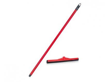 BRILANZ Stěrka na podlahu s násadou ECONOMY 44 cm s italským závitem, tyč 130 cm, červená