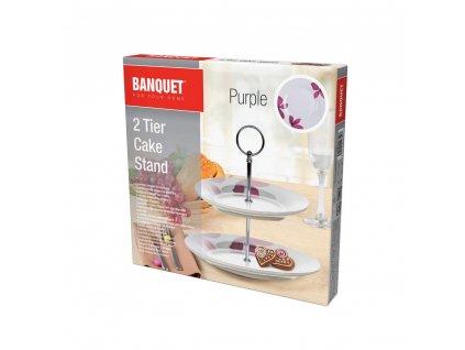 Porcelánový stojan na cukroví Banquet Purple, 2 patra