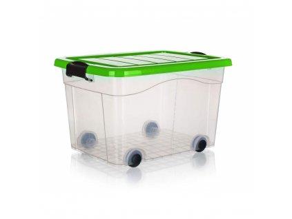 BRILANZ Box úložný na kolečkách PYRAMIDA 40 l, zelený