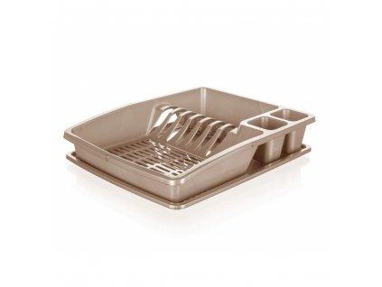 BANQUET Odkapávač na nádobí plastový myKITCH.38 x 31 x 7,5 cm, hnědý