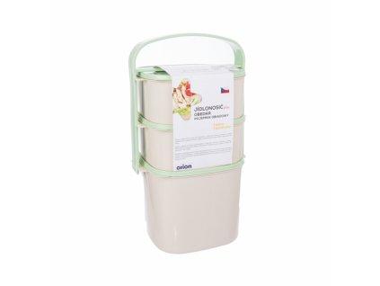 Plastový jídlonosič Almi plus zelený, 3 patra