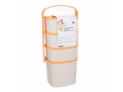 Plastový jídlonosič Almi plus oranžový, 4 patra