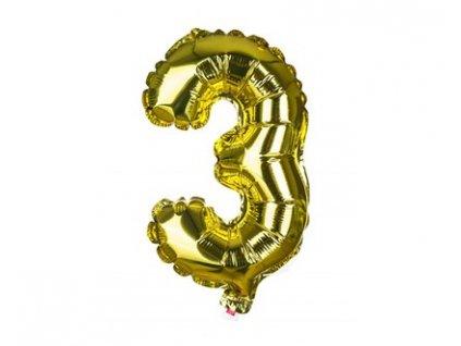 Narozeninový balónek číslice 3, výška 30 cm