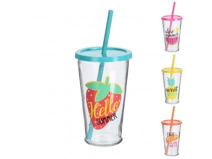 Skleněný pohár s brčkem Straw, 0,45 l