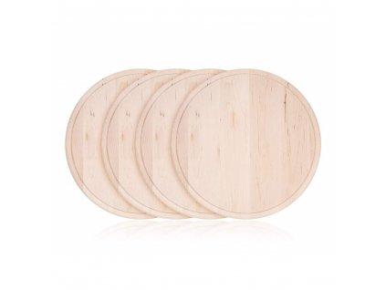 Sada krájecích dřevěných prkének Happy Green BBQ průměr 22 cm, 4 ks