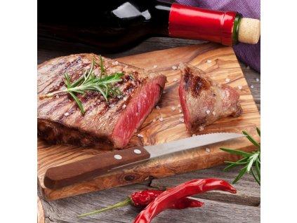 Nůž steak. nerez/dřevo 6ks