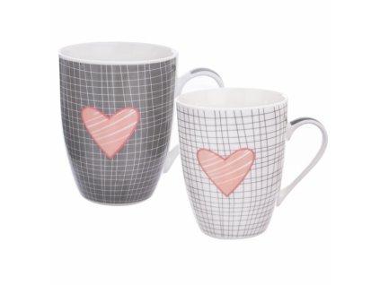 Porcelánový hrnek růžové Srdce 0,35 l sada 2 ks