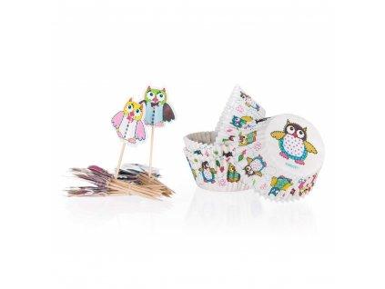 BANQUET Sada cukrářských košíčků OWLS 11,5 cm, 24 + 24 ks