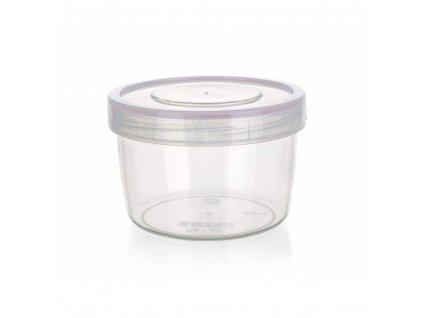 BANQUET Dóza plastová hermetická kulatá LARA 500 ml, průměr 11,2 cm, růžová