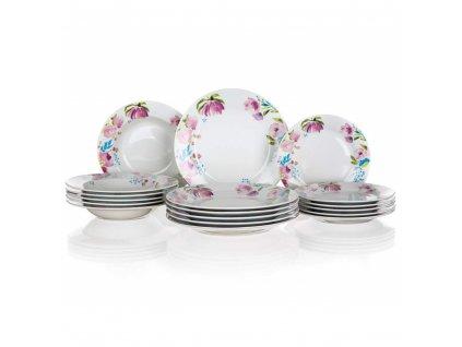 BANQUET Sada talířů PINK FLOWERS, 18 ks