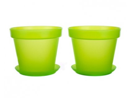 Sada květník a podmiska plastová PATIO SOFT, 4 ks, zelená