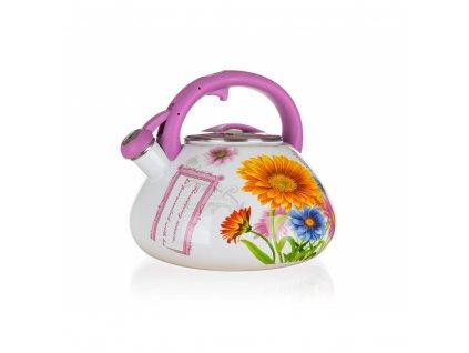 106064 smaltovana konvice kvetiny 3 l