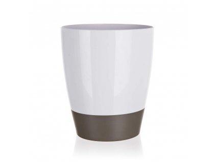 BRILANZ Koš odpadkový plastový oválný 21 x v 24 cm, bílo-šedý
