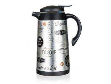 BANQUET Termoska nerezová CONTE 1 l, se skleněnou vložkou, dekor Coffee 1