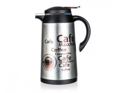 BANQUET Termoska nerezová CONTE 1 l, se skleněnou vložkou, dekor Coffee 2