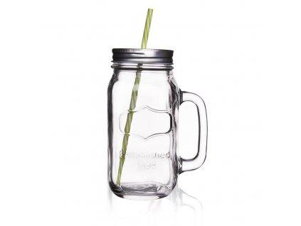 Sklenice sklo víčko+brčko 0,7l