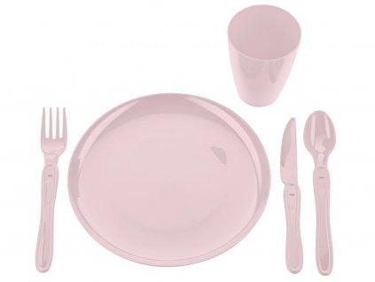 Pikniková jídelní sada 21ks růžová