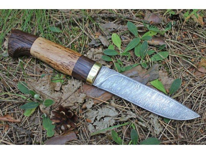 Lovecký nůž z damaškové oceli Tajga - karelská bříza