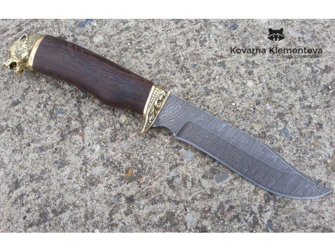 Lovecký nůž z damascénské oceli Barrakuda - wenge