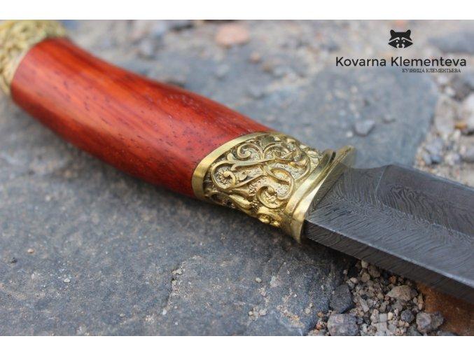 Nůž z torzní damascénské oceli Startel - padouk, mosaz