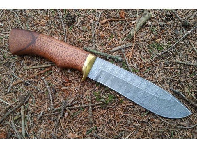 Nůž z damaškové oceli Tuleň - mahagon
