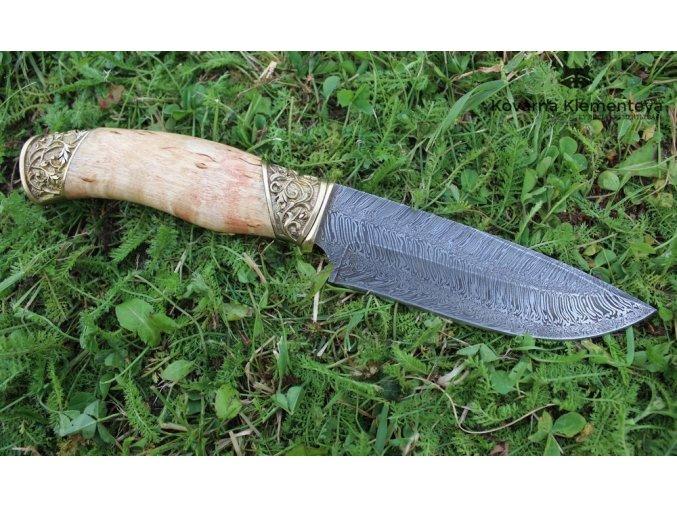 Nůž z torzní damascénské oceli Startel - karelská bříza, mosaz