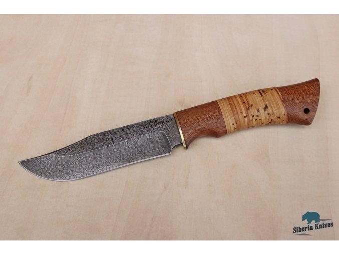 Lovecký nůž z damascenské oceli Bowie