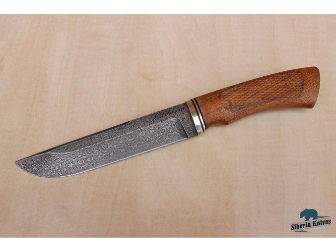 Lovecký nůž z damascénské oceli Dikobraz