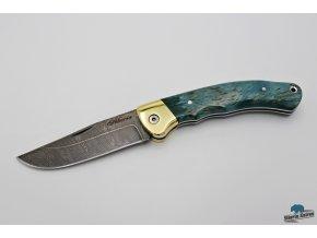Zavírací ručně kovaný nůž z damašku Páv