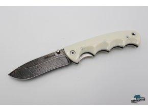 Zavírací ručně kovaný nůž z damašku Arctic