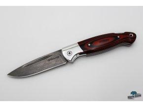 Zavírací ručně kovaný nůž z damašku Sumec - red