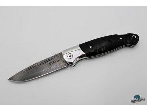 Zavírací ručně kovaný nůž z damašku Sumec - black