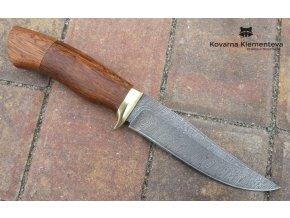 Lovecký nůž z damaškové oceli Liška - mahagon sapelli