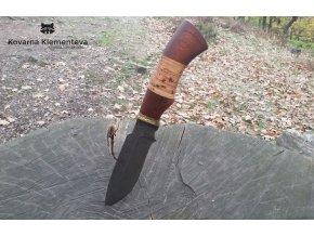 Lovecký nůž z damascénské oceli Ančar - mahagon, bříza