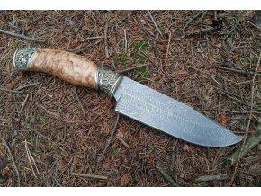 Nůž z torzní damascénské oceli Startel - karelská bříza, alpaka