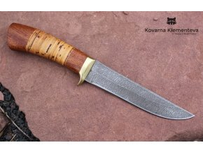 Nůž z damascénské oceli Mangusta - mahagon, bříza