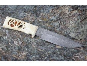 Nůž z damascénské oceli Myslivec - losí paroží