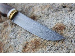 Nůž z damascénské oceli Mangusta - wenge, losí paroží