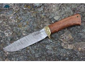 Ručně kovaný lovecký nůž z damaškové oceli Tesák