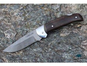 Zavírací ručně kovaný nůž z damašku Zubr