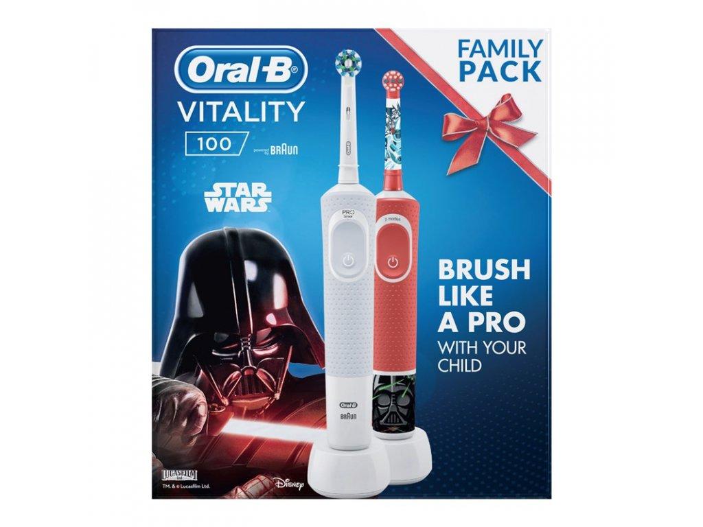Set zubních kartáčků Oral-B Vitality 100 D100 Adults White CA + D100 Star Wars