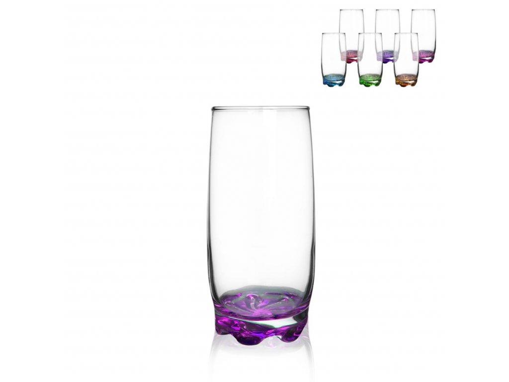 Sklenice na nápoje s barevným dnem Adora, 0,37 l