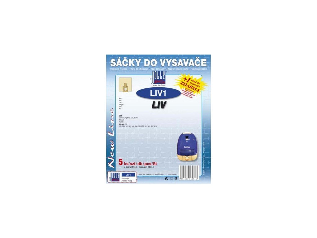Sáčky do vysavače Jolly LIV 1 (5+1+1ks) do vysav. LIV Domino, Optimo, Modulo