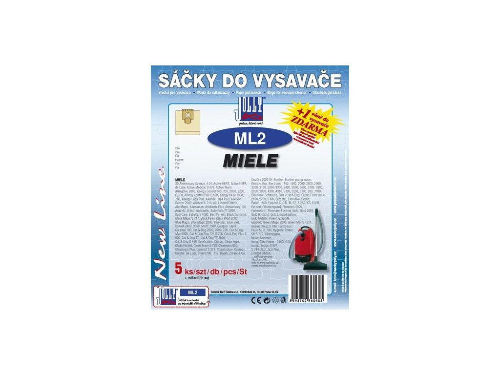 Sáčky do vysavače Jolly ML 2 (5+1ks) do vysav. MIELE