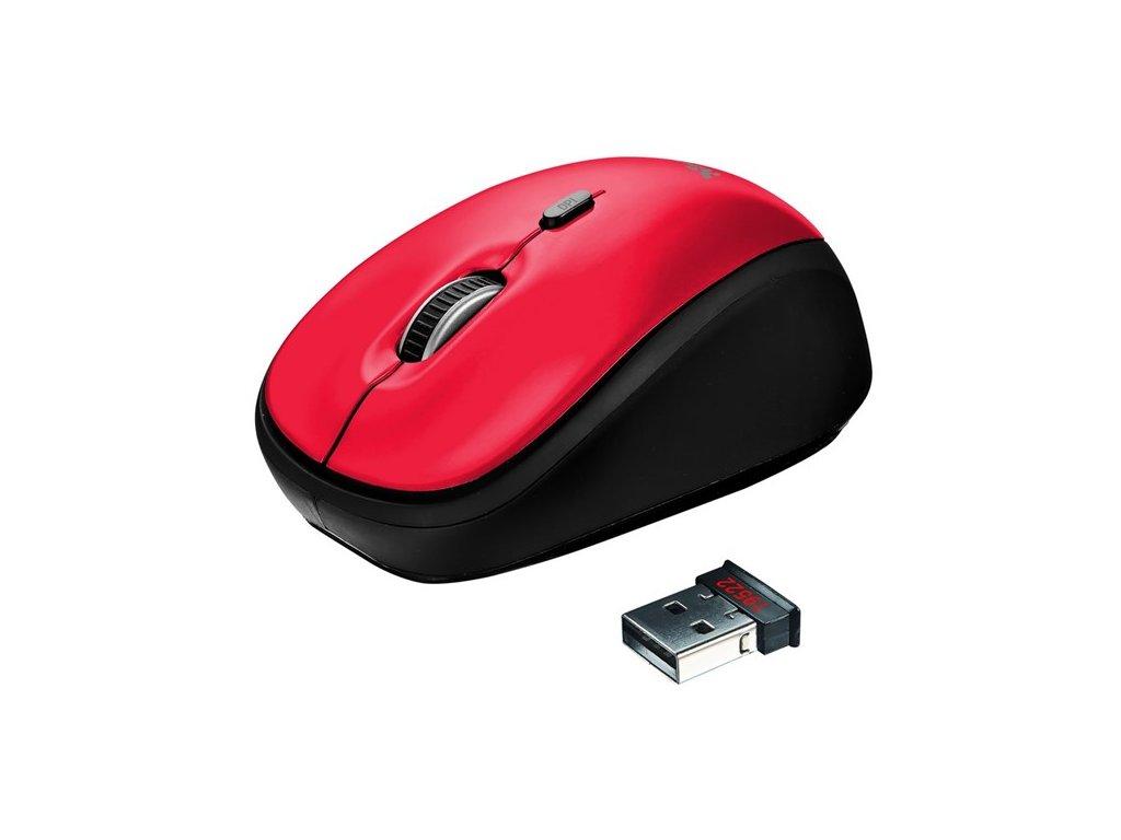 Myš Trust Yvi Wireless / optická/ 4 tlačítka/ 1600DPI - červená