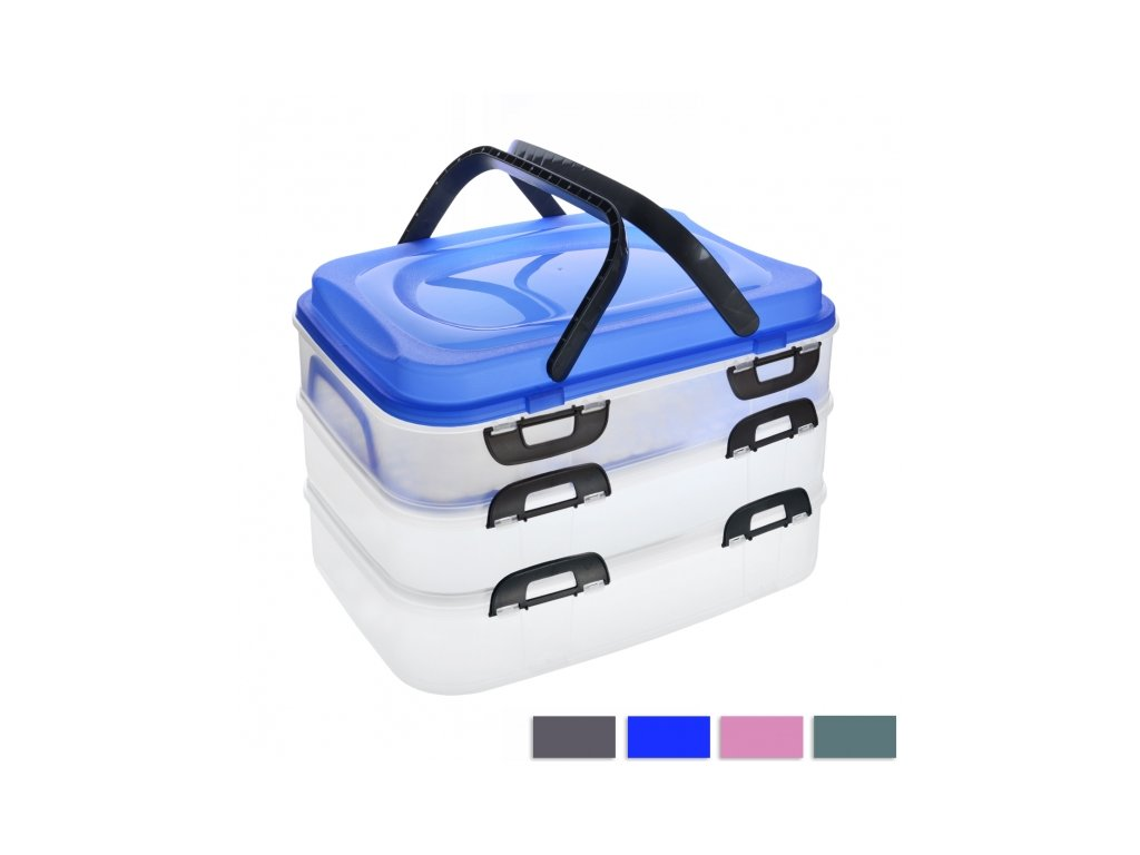 Plastový box na potraviny s uchy Piknik, 3 patra