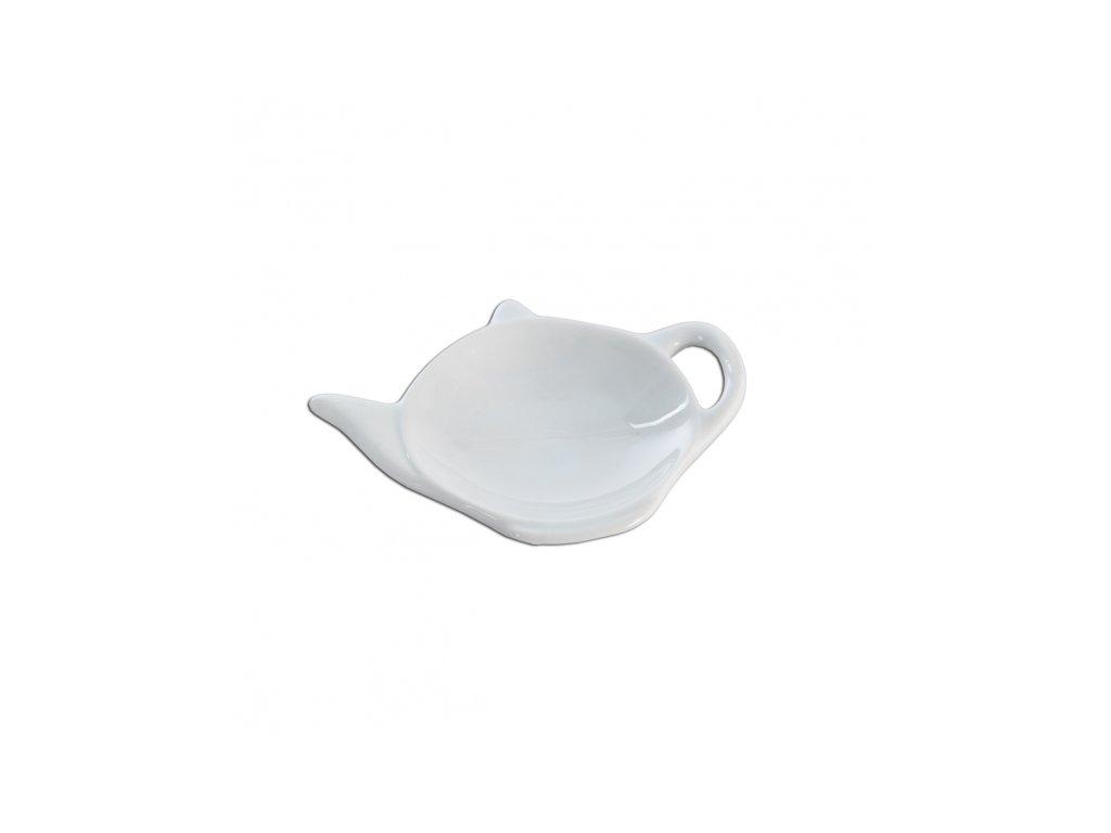 Porcelánový podčajník bílý, 11,5 x 8,5 cm