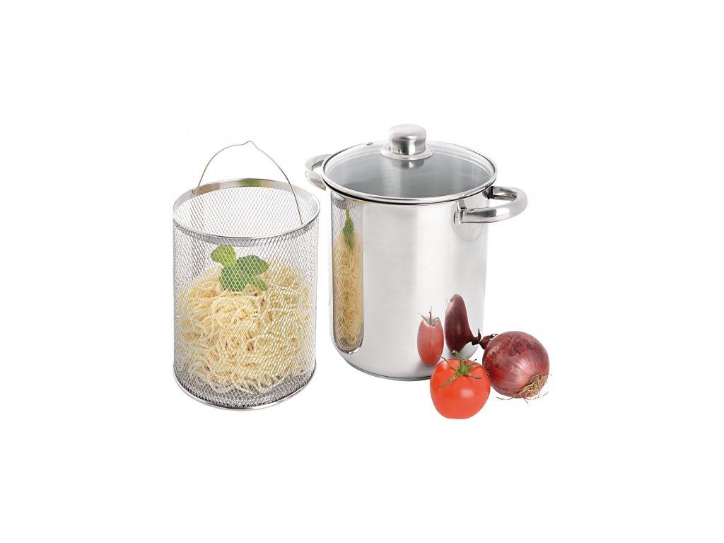Nerezový hrnec na těstoviny s poklicí a sítem, 4,2 l
